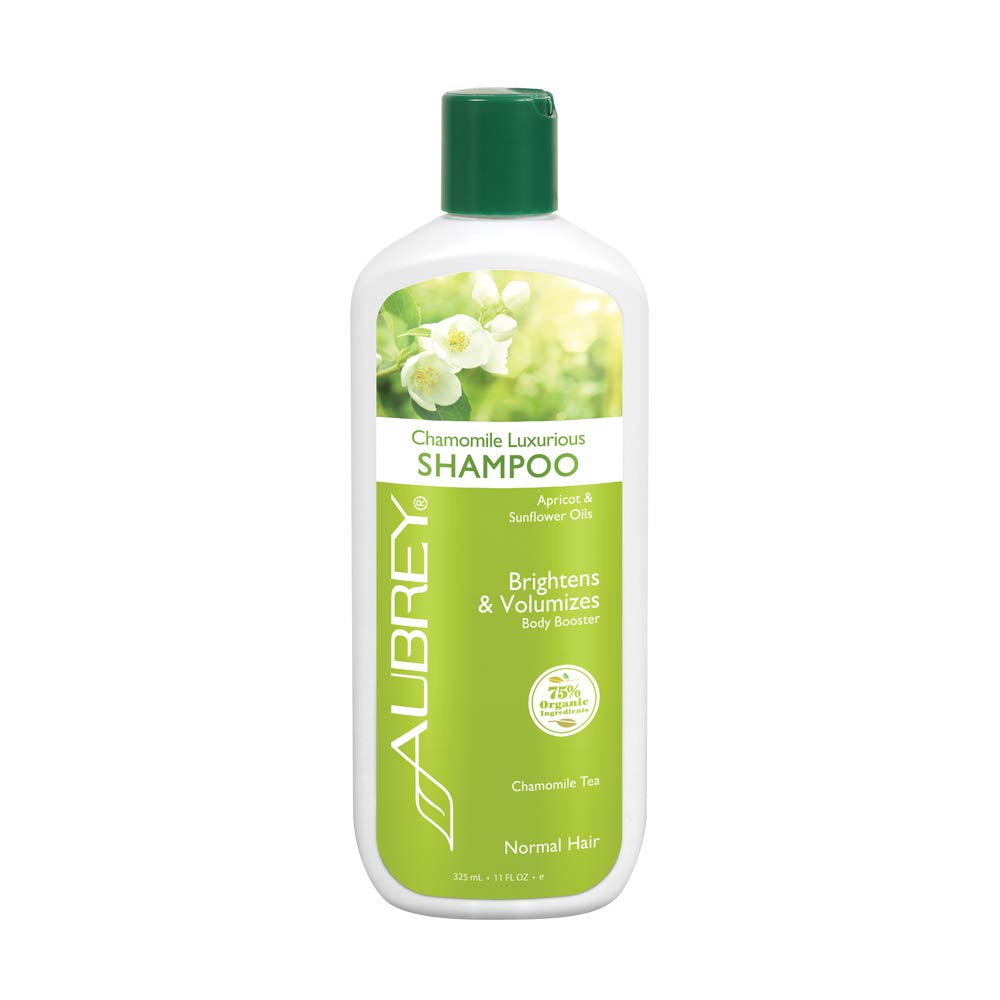 Aubrey Chamomile Luxurious Shampoo | Brightens & Volumizes Normal Hair | Adds Bounce & Fullness, Soothes Scalp | 75% Organic Ingredients | 11oz