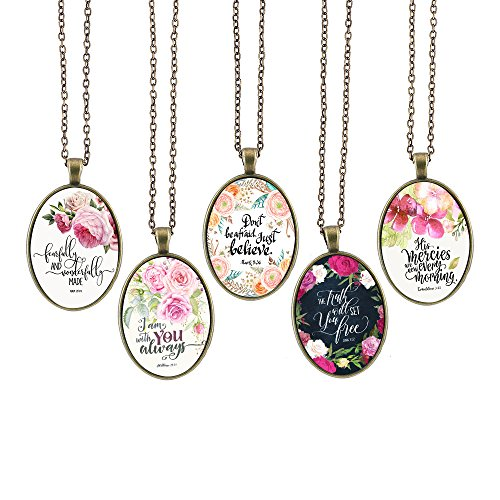 Bling Bling Glass Cabochon Necklace Vintage Bible Verses Pattern of Oval Pendant Inspired Necklace 23.6 inches Handmade for Gifts 5pcs (Bible Verses 10, Big (Big Locket)