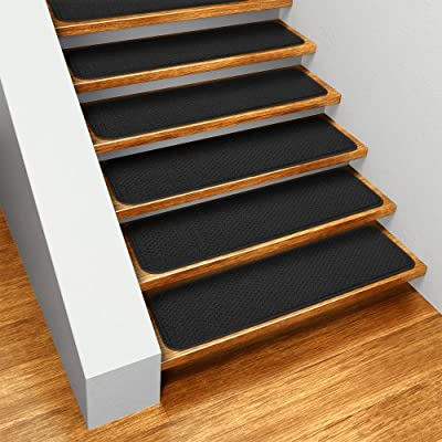 Set of 15 Skid-resistant Carpet Stair Treads - Black - Several Other Sizes to Choose From