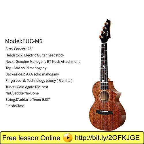 Enya EUC-M6 Cutaway Concert Ukulele 23 Inch All Solid Mahogany with Beautiful Inlay and Gloss Finish