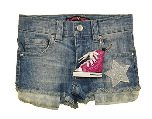 U Glow Girl Little Girls Denim Blue Star Patch Short W/Light Up Key Chain (6X)