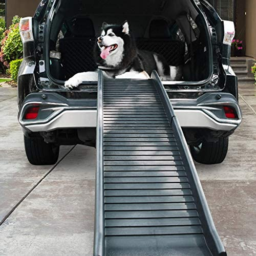Folding Dog Ramp – Happy Ride Portable Lightweight Dog Cat Ramp with Non-Slip Surface, Durable Pet Ramp , Black ,Supports Up to 165lb