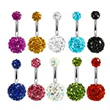 fashionlife2018 10pcs 14G Stainless Steel Belly Button Rings for Women Girls Navel Piercing CZ Body Piercing (10Pcs Mix Color)