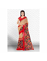 Indian Handicrfats Export Floral Print Daily Wear Faux Georgette Saree (Multicolor)