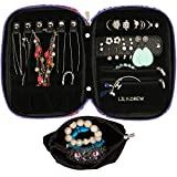 Lily & Drew Travel Jewelry Storage Carrying Case Jewelry Organizer with Removable Pouch (Flower)