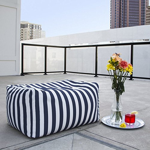 Outdoor Striped Bean Bag Ottoman, Comfortable and Modern, Side-Table, Extra Seat, Fade, Mold, Stain, UV, and Weather Resistant Outer Cover, Inner Liner, Navy Striped by Jaxterrific (Image #3)