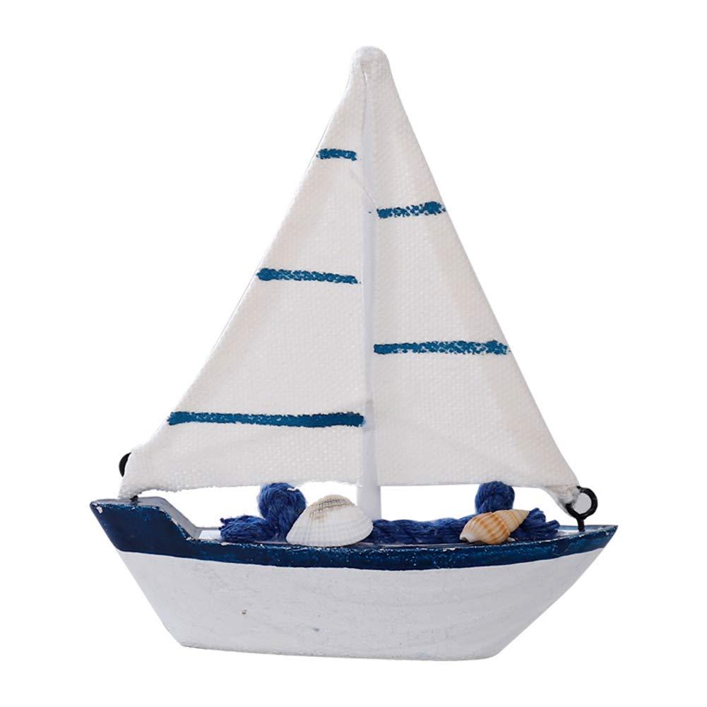 3 Oyfel Estilo mediterr/áneo Madera Pesca Barco Ornamento Modelos de Madera Barco Marinero Mini Barco de Vela Estilo Retro N/áutica Decoraci/ón para el hogar 11.5 12.5cm