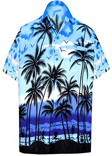 LA LEELA Men's Relaxed Hawaiian Shirt Casual Short Sleeve Fashion L Blue_W136 (Best Luau In Honolulu 2019)