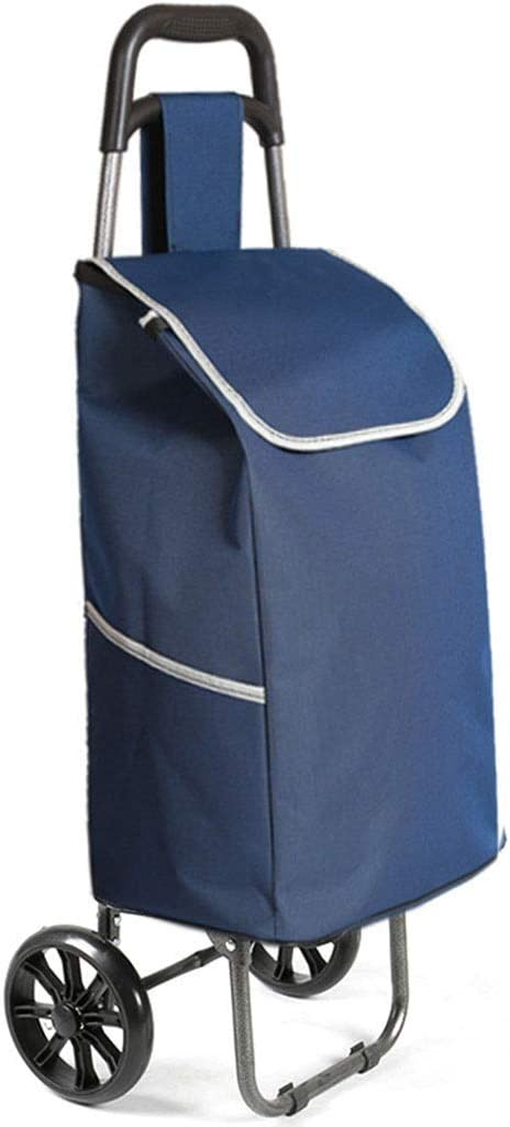 ECHOV Trolley Bags Shopping Cart,Foldable Portable Shopping Cart,Grocery Shopping,Luggage Trolley,Home Elderly Trolley,Gift Color : Navy, Size : 91cm