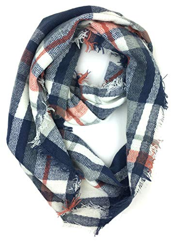 Plum Feathers Premium Plaid Print Infinity Scarf (Navy Grey Plaid) (Plum Navy)