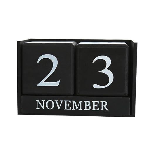 ZREAL Perpetua de Madera Vintage Calendario de Escritorio planificador de Bloque Organizador de Escritorio Permanente Agenda de Bricolaje