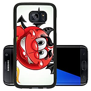 Luxlady Samsung Galaxy S7 Edge Aluminum Backplate Bumper Snap Case IMAGE ID: 23150854 Cheerful smile in costume devil with a pitchfork a series of adult party