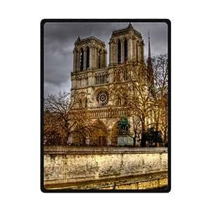 Best Custom Notre Dame De Paris Pattern Design Fleece Blanket 58 x 80 (Large)