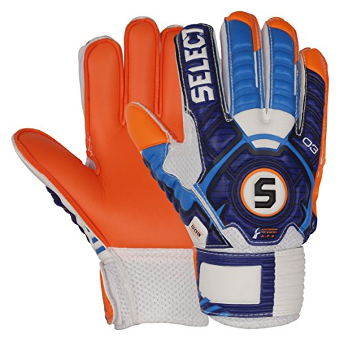 Select 03 Youth Guard Goalkeeper Gloves with Finger Protection, White/Blue/Orange, Size 6