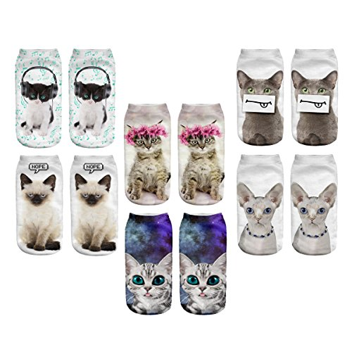 (3D Cartoon Funny Low Cut Ankle Socks Amazing Novelty Print Boat Socks (Cat))