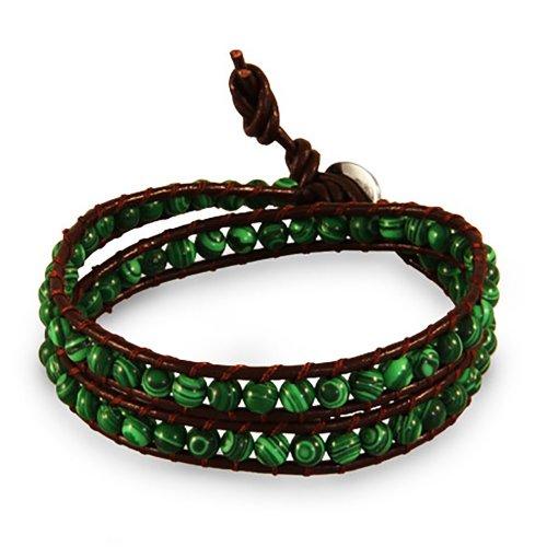 chen-rai-genuine-green-colored-simulated-stone-brown-wrap-bracelet