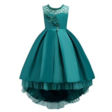 Kids Big Girls Princess Dress Floral Decor Sleeveless High Low Hem Tulle Dresses Bridesmaid Wedding Communion