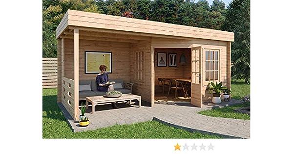 Carlsson Hanna-40 – Caseta de jardín de madera con tejado plano – Caseta para el jardín – Cabaña de jardín de madera maciza con terraza y 2 ventanas – sin impregnación: Amazon.es: Jardín