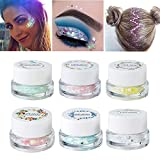 NICOLE DIARY Glitter Makeup Mermaid Sequin Gel Set Star Heart Flakes Metallic Shimmer Glue Waterproof Long-lasting Gel For Face Lips Eyeshadow Hair Pigment Cosmetic (6 Colors)