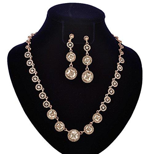 Gold Bridal Jewelry Set (Topwholesalejewel Fashion Jewelry Set Rose Gold Plating Crystal Rhinestone Necklace Earrings Set)