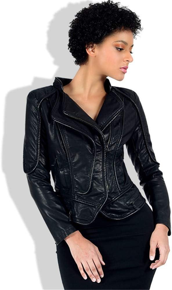 GWDYE Abrigo de Cuero de imitación para Mujer, Chaqueta de Abrigo Corto de Motociclista, Chaqueta de Vuelo con Cremallera Ropa de Cuero Cuello Vuelto Otoño Ropa de Abrigo cálida, Negro