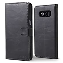 """Galaxy S8 Case, BELK Premium Retro Vintage Leather Classic Magnetic Flip Wallet Case with Hard PC Cover Kickstand Card Holder for Samsung Galaxy S8 - 5.8"""", Black"""