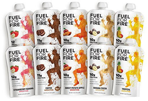 Fuel For Fire - Variety Pack (10 Pack) Fruit & Protein Smoothie Squeeze Pouch | Perfect Drink for Workouts, Kids, Snacking - Gluten-Free, Soy-Free, Kosher, No Added Sugar (4.5 ounce pouches)