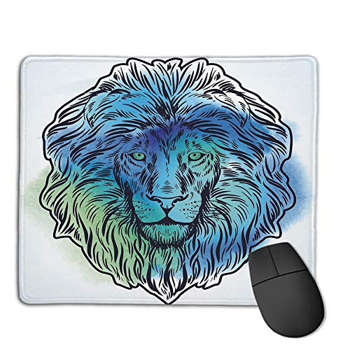 - Mouse Pad Non-Slip Thick Rubber Large MousepadLion,Artistic Lion Portrait with Digital Hazy Effect King of Forest Illustration Decorative,Light Blue Turquoise,Suitable for Notebook Desktop Computers