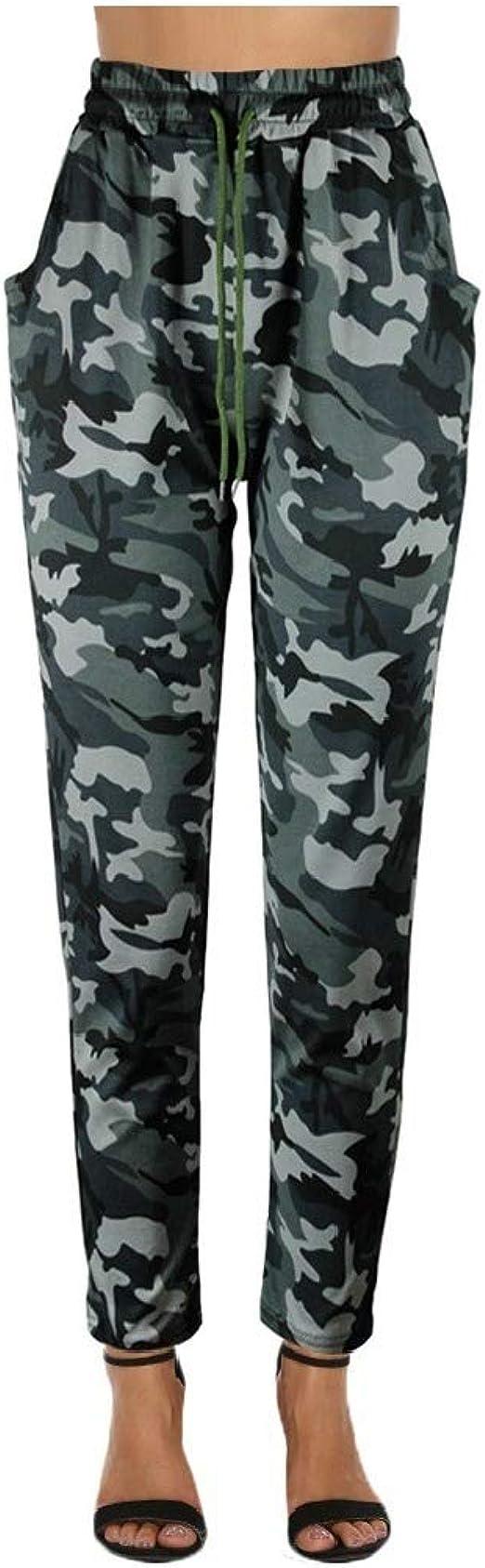 VITryst Women Patterned Slim Elastic Waist Harem Pocketed Camouflage Wear Pants
