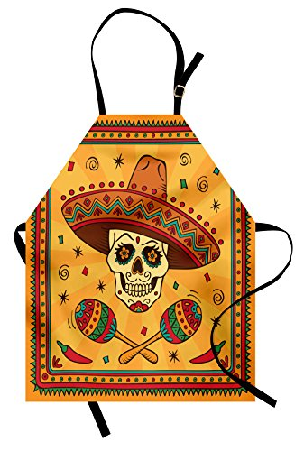 Lunarable Mexican Apron, Mexican Sugar Skull Cartoon Carnival Cartoon Traditional Celebration Print, Unisex Kitchen Bib Apron with Adjustable Neck for Cooking Baking Gardening, Orange -