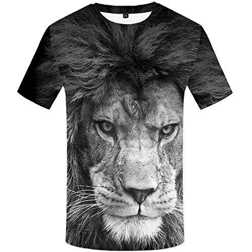 (KYKU Lion Tshirt Men Animal T-Shirts 3D Printed Shirts for Men Anime Shirt Cool (XX-Large))