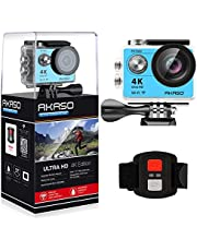 AKASO EK7000 4K Sport Action Camera Ultra HD Camcorder 12MP WiFi Waterproof Camera 170 Degree Wide View Angle 2 Inch LCD Screen W/2 Rechargeable Batteries/19 Accessories Kits- Silver