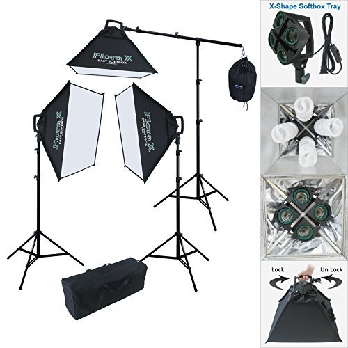 Linco Lincostore 2000 Watt Continuous Photography Video Studio 3 Softbox Boom Stand Digital Video Hair Lighting AM111 - by Linco