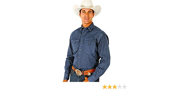 Roper 06-001-0720-0110 BU Mens Denim  Twill Western Shirt Big And Tall