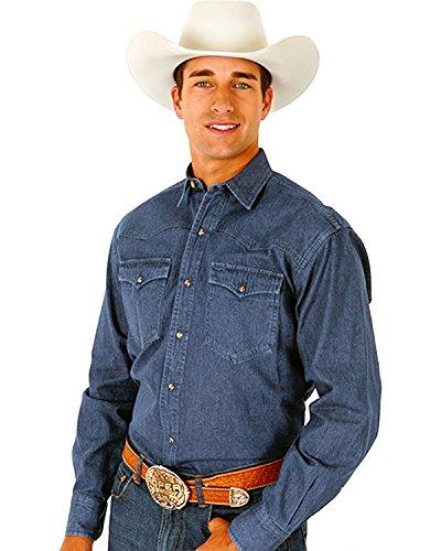 Roper Denim - Roper Men's Denim Blue Twill Western Shirt Big and Tall Blue Large Tall