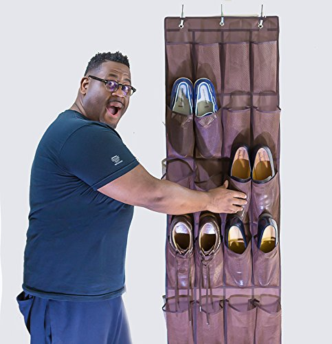 OVER THE DOOR SHOE ORGANIZER FOR MEN, WOMEN AND KIDS, 24 Pockets to Declutter Closets, Garage, Bedrooms, Dorm, RV, Hallway, Entryway and Make Finding Shoes a Snap, FREE E-Book With Organizing Tips