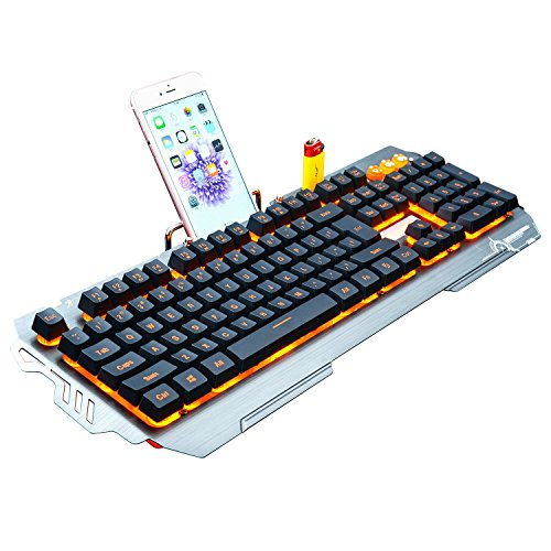 KRNELLY PK810 Yellow Backlight Gaming Keyboard with Phone (Ibm Telephone)