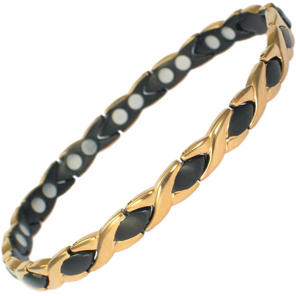 IonTopia Athena Titanium Magnetic Therapy Bracelet Black and Gold with Free Links Removal Tool