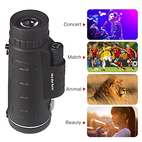 Monocular Telescope by MonoSee | Telescope for Phone, Binocular Scope - Ideal for Hiking, Night Vision, Site Seeing, Camping, Sports, Wildlife, Waterproof, Free Phone Attachment & 2 Tripods. 12X50.