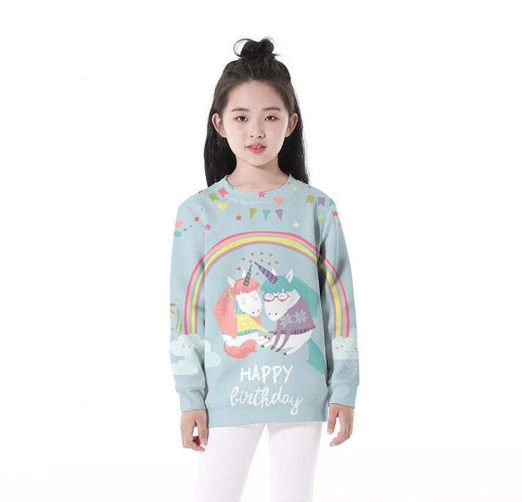Girls Cute Rainbow Unicorn Happy Birthday Sweatshirt Hoodie
