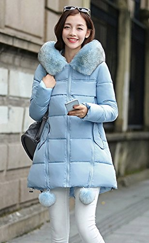 Pom Cappuccio Star Stight Ladies Cappotto Blu M Zipper Coreano Bigood Con 8wUI4
