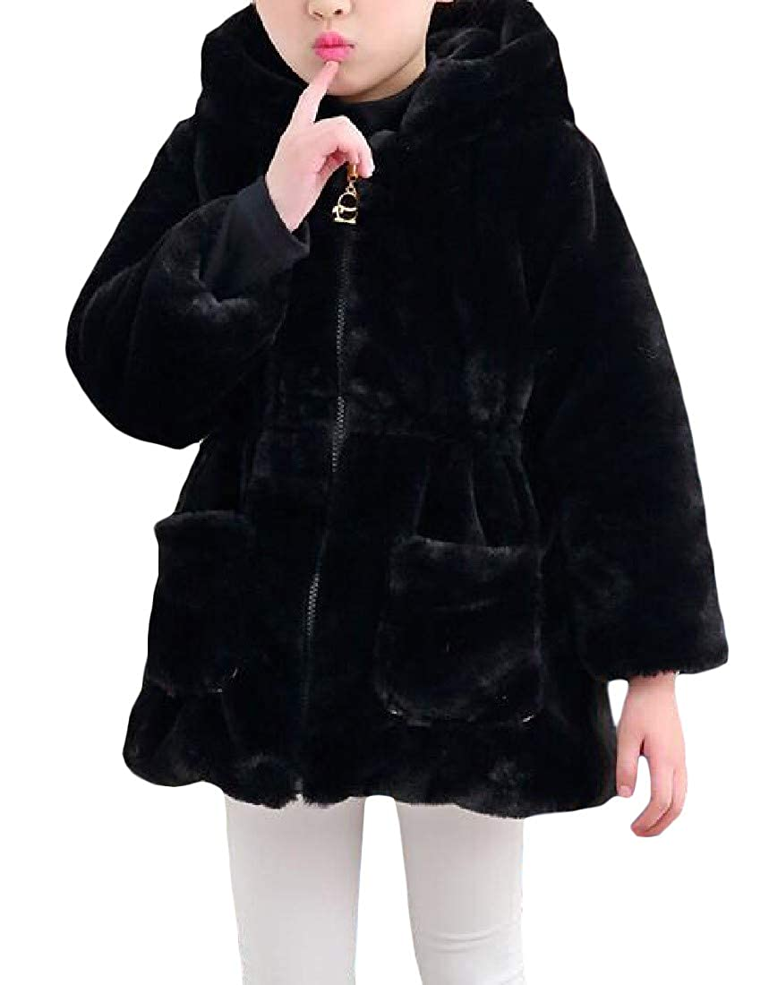 Pivaconis Girls Chic Hooded Sherpa Winter Coat Thickened Parkas Jacket