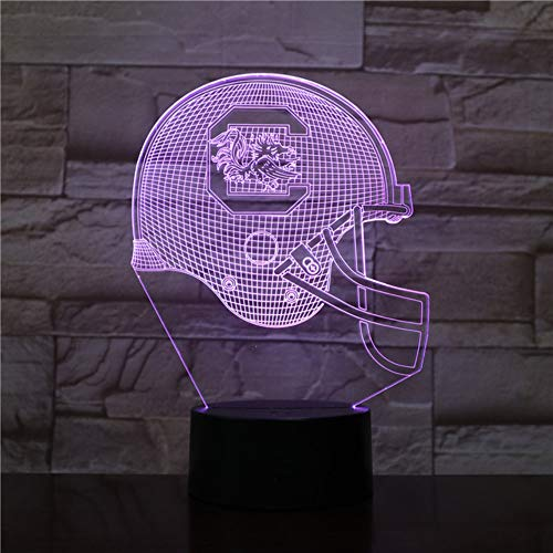 LLWWRR1 3D Led Night Light USB South Carolina Gamecocks Football Helmet Lampara Children Kids Gift Color Changing Table Lamp Bedroom