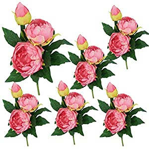 Lily Garden 6 Stems Artificial Peony Silk Flowers (Pink) 68