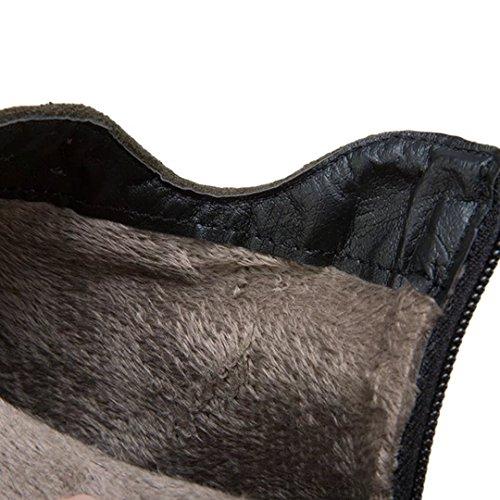 AIYOUMEI Damen Geschlossen Blockabsatz Stiefeletten mit Strass Elegant Herbst Winter Stiefel Schuhe Grün