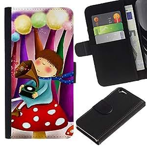 KLONGSHOP // Tirón de la caja Cartera de cuero con ranuras para tarjetas - Lindo Fantasy Girl - Apple Iphone 6 //