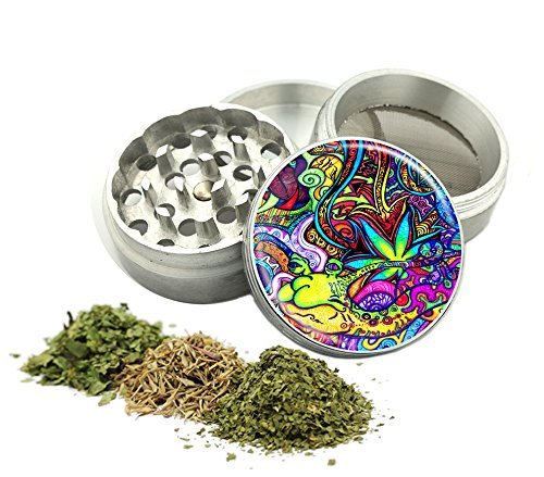 Psychedelic Weed Design -42 mm- Tobacco And Herb Grinder 4 Parts That Has Fashion Design On And Covered With Crystal Clear Doming Item # G42-5715-273 by Dig DomingUSA