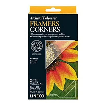 Amazon.com: Lineco Archival Polyester Mounting Corners 1.375 Inches ...