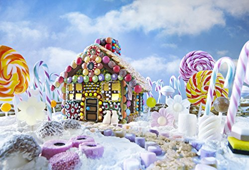 Leowefowa 7X5FT Christmas Backdrop Vinyl Photography Background Gingerbread House in Xmas Landscape Lopllipops Blue Sky White Cloud Candy Cane Happy New Year Kids 2.2(W)X1.5(H)M Photo Studio Props (Breads Xmas)