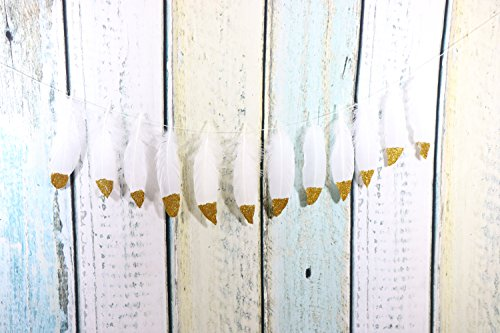 Feather Garland Decoration Glitter Gold Banner for Bedroom Bohemian Decor Teepee Decorations Baby Shower Party